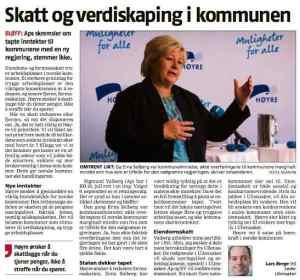 Avisinnlegg i Romerikesblad 23. juni 2013 om formueskatt og kommuneøkonomi. Erna Solberg og Lars Berge er avbildet.