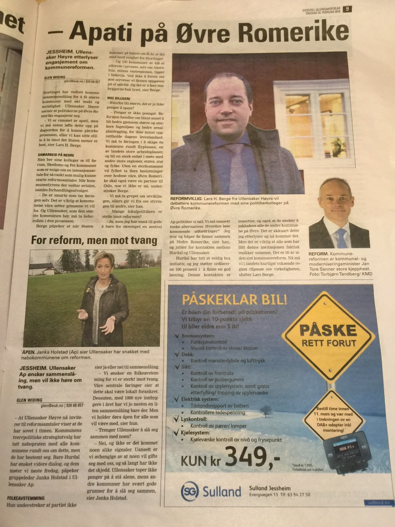 Apati på Øvre Romerike skriver Eidsvoll Ullensaker Blad om Lars Berge sin utfordring. Janka Holstad fra Arbeiderpartiet kommenterer også Jan Tore Sanner sin kommunereform i artikkelen.